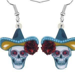 Skull with sombrero day of the dead earrings